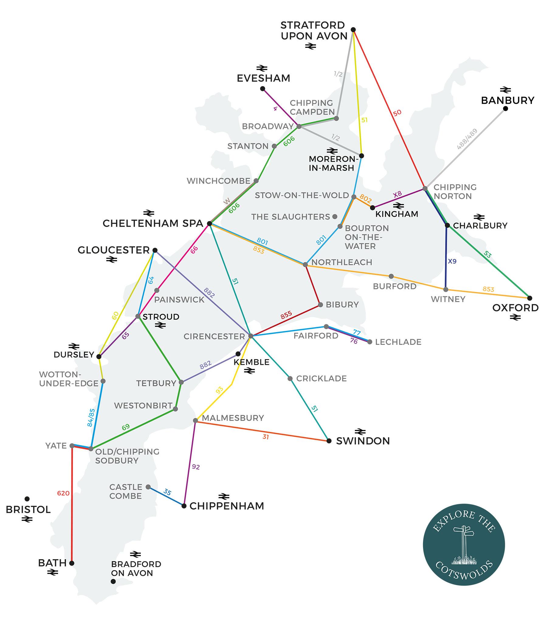 Cotswolds public transport map