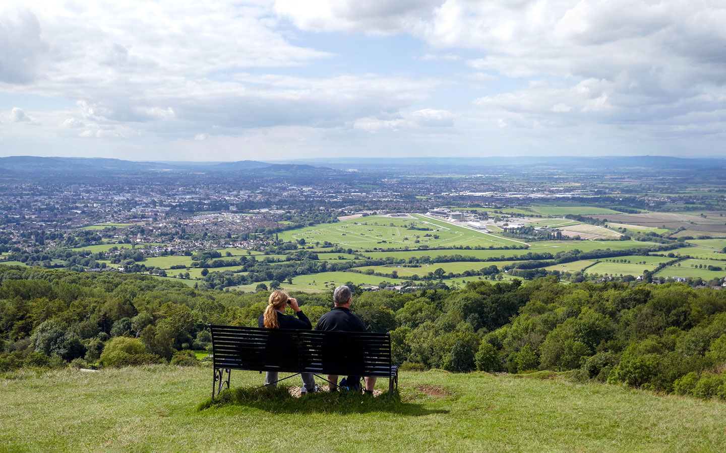 Looking down on Cheltenham from Cleeve Hill