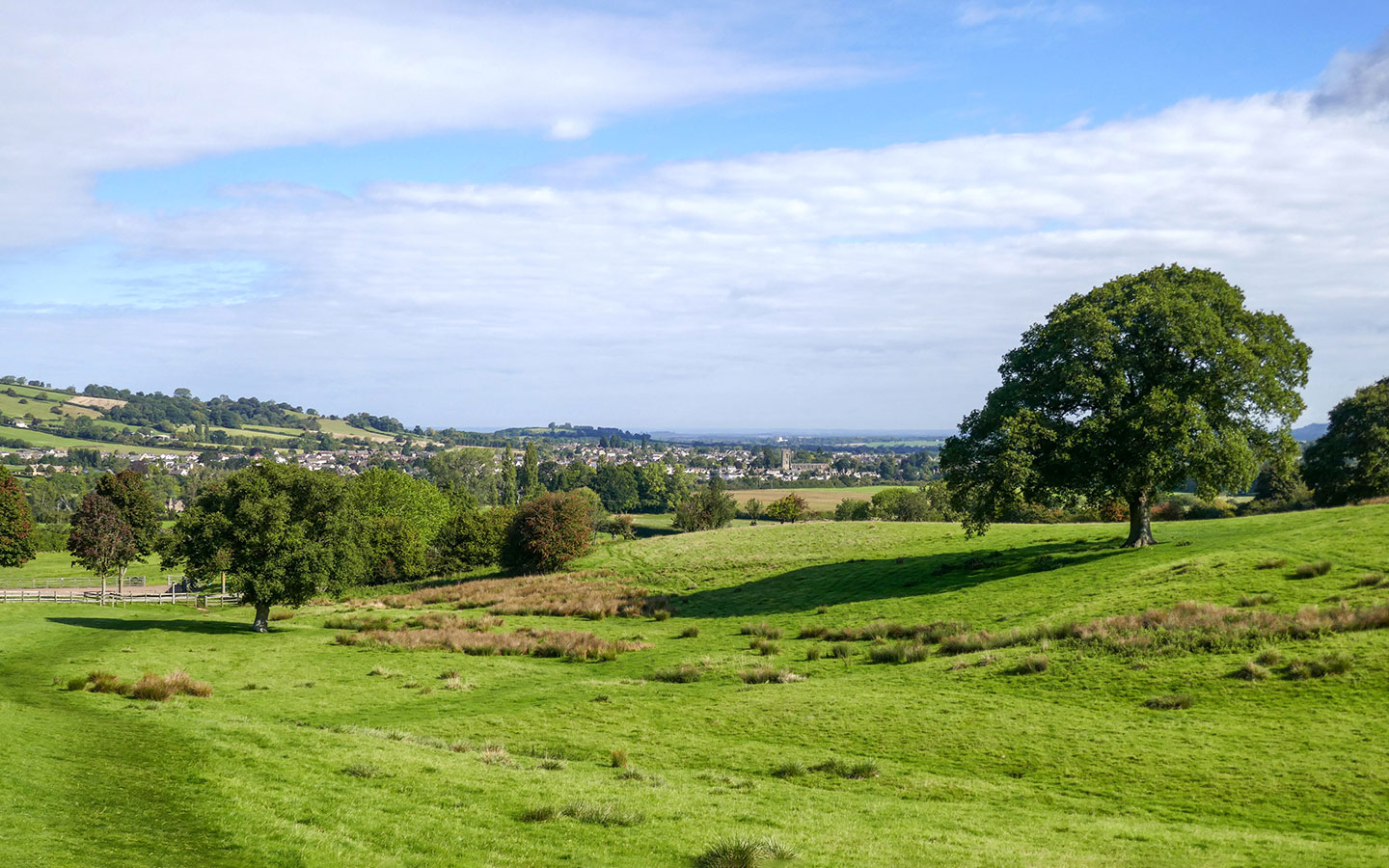 Looking back to Winchcombe from the Cotswold Way