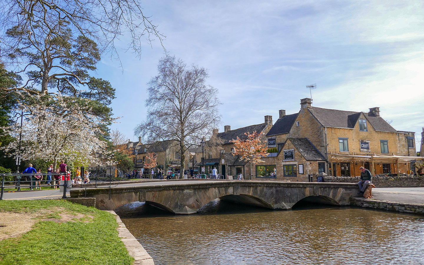 The River Windrush flowing through Bourton-on-the-Water in the Cotswolds