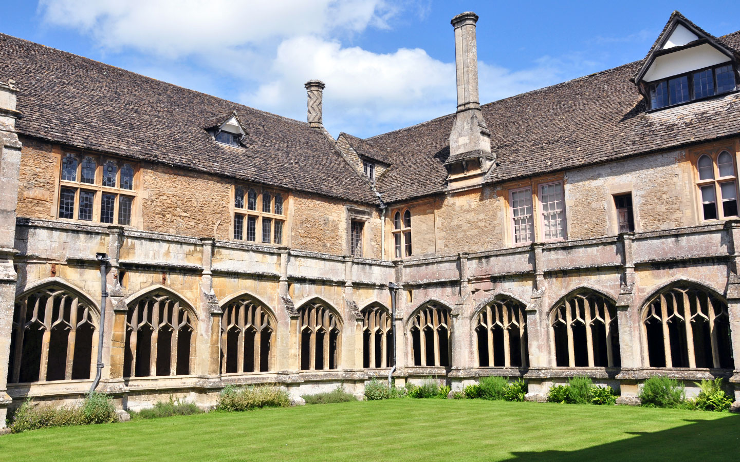 The cloisters of Lacock Abbey in Wiltshire