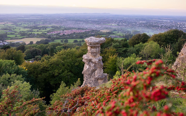 The Devil's Chimney rock formation on Leckhampton Hill near Cheltenham