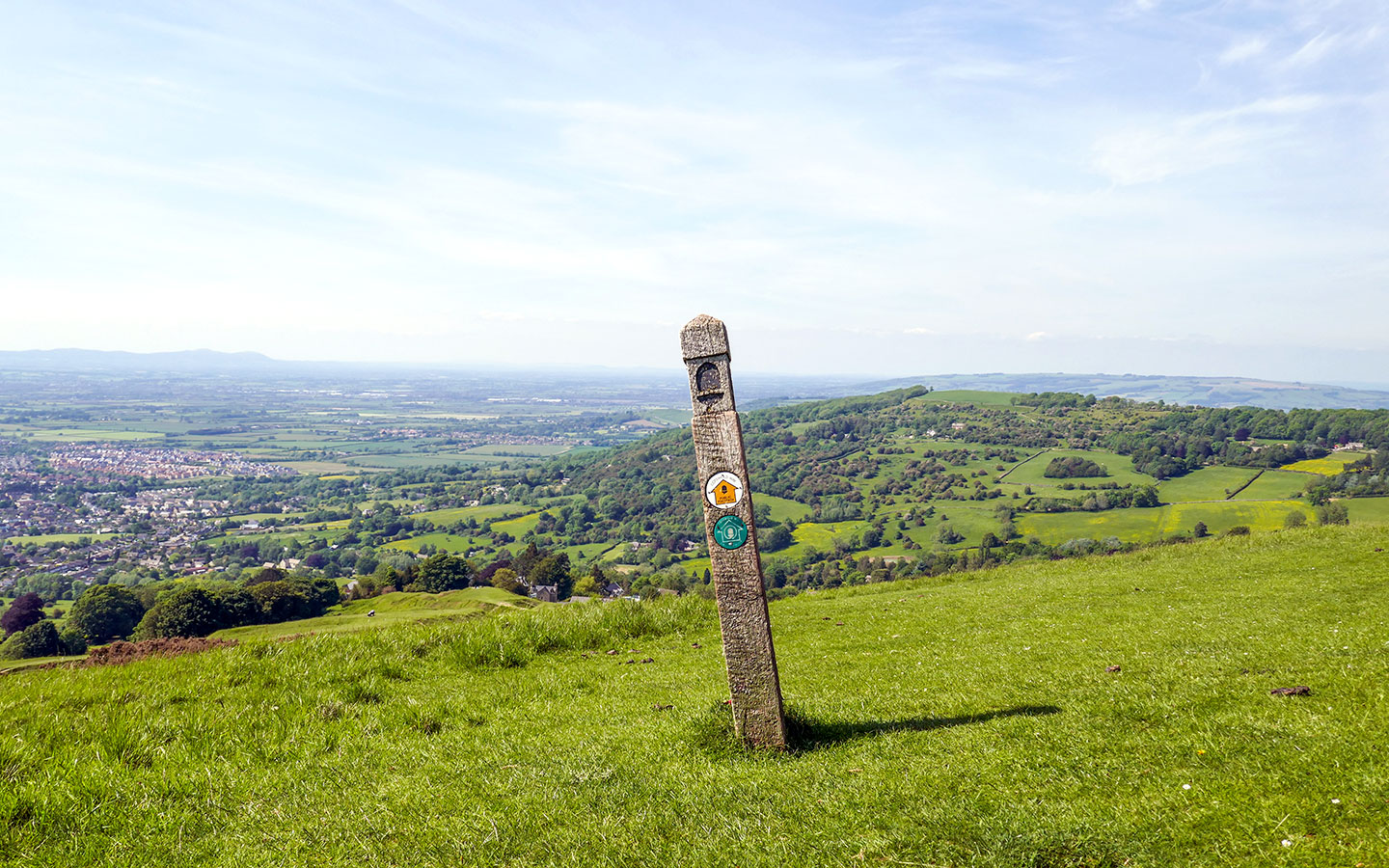 Cotswold Way signpost on Cleeve Hill