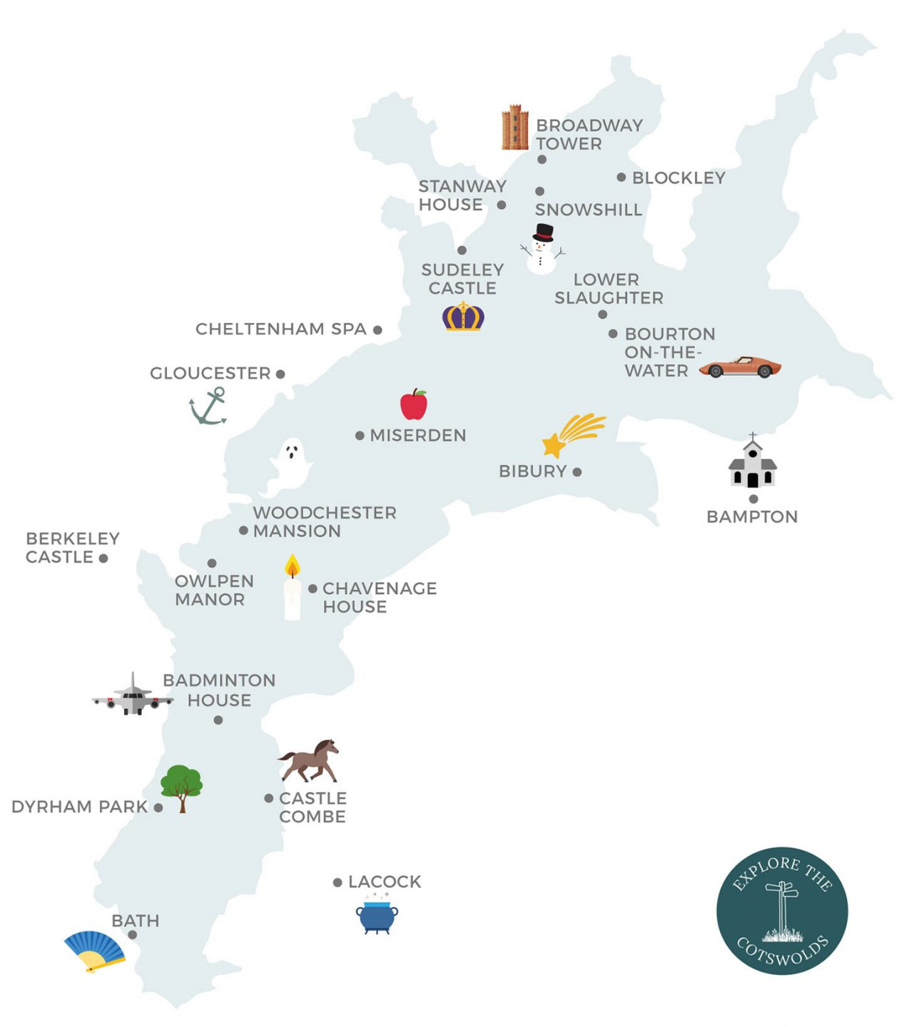 Map of Cotswolds film locations