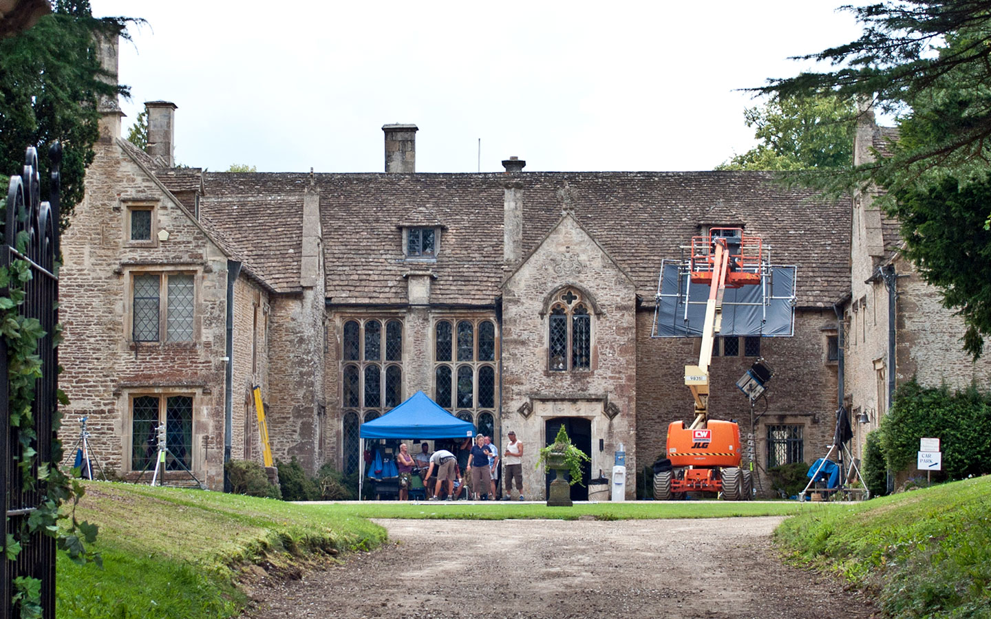Filming taking place at Chavenage House in the Cotswolds