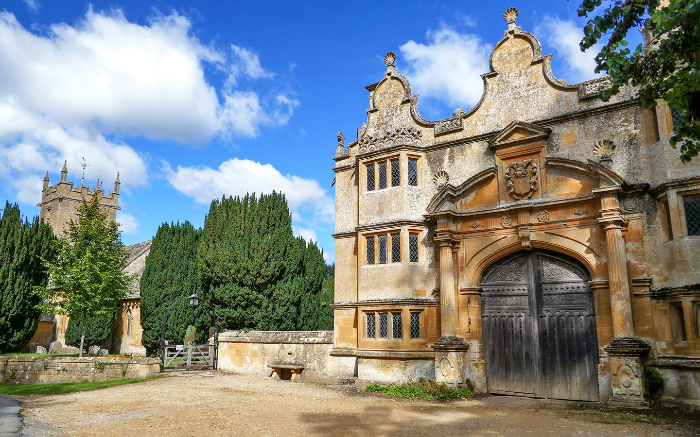 The entrance to Stanway House, a popular Cotswolds film location